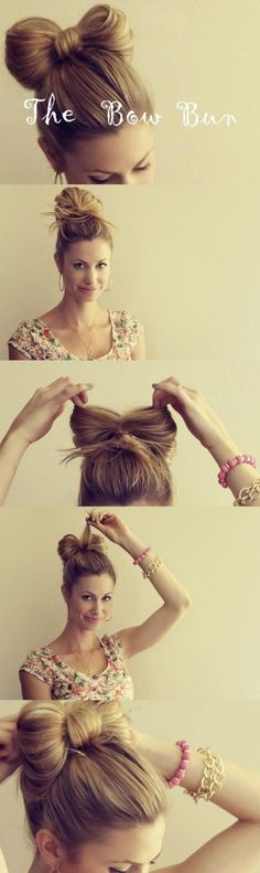 How to easily make a 'HAIR BOW' from your bun.  So cute.