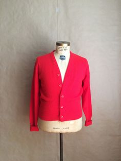 striking vintage 1970's red cardigan sweater button up by yellowjacketvintage on Etsy