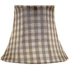 Taupe Checkered Silk Shade 3x5x4.25 (Clip-On)