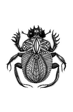 Egyptian Patterned Scarab Dung Beetle, Black and White, Digital Art Print of an Original Fine Art Line Drawing: