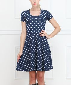 Navy Polka Dot Scoop Neck Dress