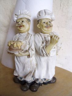 Happy chefs roll holder A pair of vintage resin French chefs