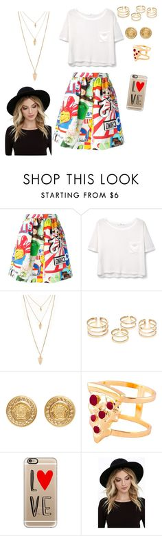 """""""Sin título #21"""" by grecia2004 ❤ liked on Polyvore featuring Moschino, MANGO, Forever 21, Versace, Glenda López, Casetify and RHYTHM"""