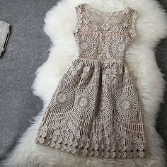 Vintage Gold Thread Hollow Out Embroidery Slim Dress on Luulla on We Heart It