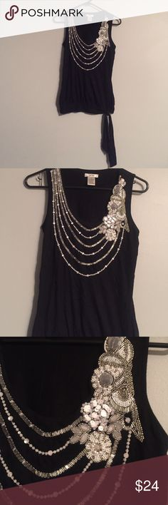 Cache faux necklace tank BNWOT,  never worn, no damage or missing sequins. Has a bottom tie at the bottom of tank Cache Tops Tank Tops