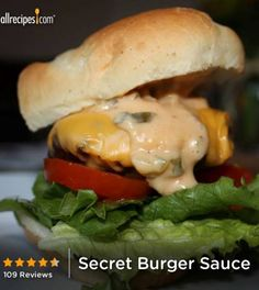 Secret Burger Sauce~~YES! it reminds me of in n out burger Burger Sauces Recipe, Hamburger Meat Recipes, Burger Recipes, Pizza Recipes, Best Homemade Burgers, Burger Dogs, Gourmet Burgers, Vegetable Side Dishes, Food Inspiration
