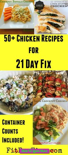 If you've got chicken and looking for some meal inspiration, here are 50  21 Day Fix Chicken Recipes that will keep you lean and clean! For more recipes and 21 Day Fix resources, head to www.FitFunTina.com #health #fitness #weightloss #healthyrecipes #weightlossrecipes