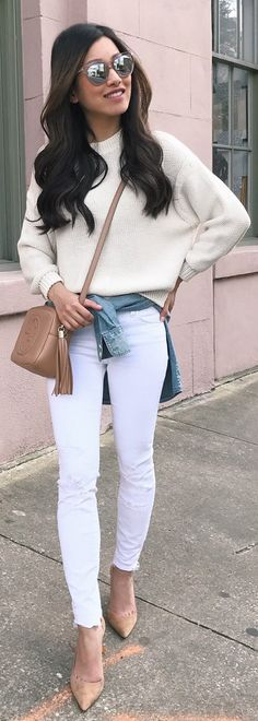 Ultimate Spring Outfits / White Knit / White Skinny Jeans / Nude Pumps / Camel Leather Shoulder Bag