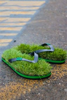 Are you the one that feels walking naked feet on lush green grass is actually a theraphy....   Try these...  Originals Synthetic Grass Flip Flops