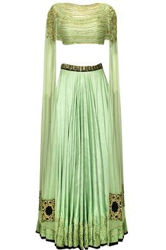 Mint green embroidered lehenga with attached dupatta blouse by Ridhima Bhasin. Shop now: http://www.perniaspopupshop.com/designers/ridhima-bhasin #ridhimabhasin #lehenga #shopnow #perniaspopupshop