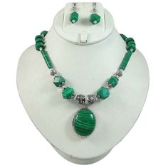 Malachite Stone Pendant Necklace Set India Women Jewellery Gift #iba #NotSpecified