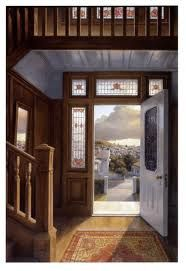 """""""Doorway"""" , 1985 Painted by Peter Siddell. A New Zealand suburban view from an older style home. Native timber was used as a feature in this era, New Zealand Art, Nz Art, Arched Windows, Window View, Interior Paint, Landscape Paintings, Art Drawings, Illustration Art, Older Style"""