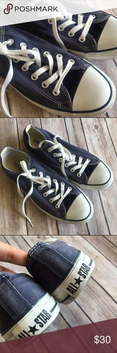 Navy Blue Woman's Low Top Converse ✨ Excellent Condition ✨ No Stains/Rips ✨ Smoke Free Home   Ships Immediately! No trading at this time.   BUNDLE & Save 20% 💗 Converse Shoes