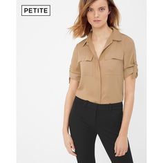 White House Black Market Petite Utility Soft Shirt ($88) ❤ liked on Polyvore featuring tops, petite, white military shirt, white pullover, pleated top, white shirt and military style shirt