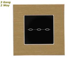 GLSTouch Designer Gold & Black Brushed Aluminium Touch Light Switch (On/Off) 3 Gang 2 Way
