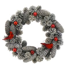 Frosty Cardinal Pinecone Wreath at TheHolidayBarn.com