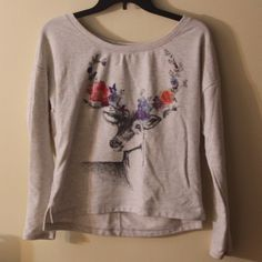 Garage Slouchy Watercolor Deer Shirt Comfortable, soft, and pretty, this top is in near-perfect condition! Very cute with any outfit. Feel free to discuss pricing! Garage Tops Tees - Long Sleeve