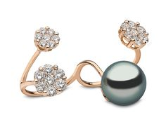 Yoko London 18kt rose gold two-finger ring with a 13-14mm Tahitian pearl and 2.51cts diamonds.
