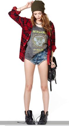 hat clothes warped tour warped vans jacket red green nirvana tank top tank grunge purse jeans outfit cute t-shirt shorts shirt shoes flannel shirt nirvana t-shirt Outfit Jeans, Cute Outfits With Jeans, Cute Winter Outfits, Basic Outfits, Jean Outfits, Boho Outfits, Outfits For Teens, Vintage Outfits, Summer Outfits