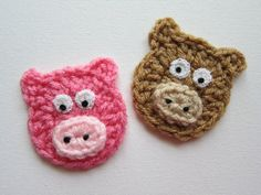 1pc Crochet PIGGY HEAD Applique Size: 2.5    Colors: pink and beige    ---->>> Note: The eyes and nose are GLUED ON, not sewn. (Permanent Fabric