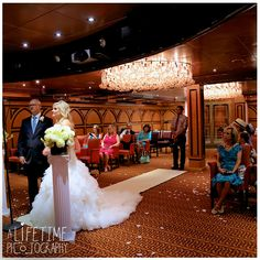 Destination wedding photographer. Wedding ceremony on the carnival Conquest cruise!