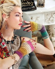 27 - Mesh Wristers from Noro Magazine #04 at KnittingFever.com