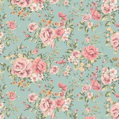 Papel de Parede Adesivo Floral Rosas Retro