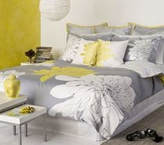 Ashley King Duvet Set in Citron for guest bedroom. Bed Sets, Duvet Sets, Yellow And Gray Bedding, Yellow Rooms, Bedroom Yellow, Bedroom Colors, Yellow Comforter, Grey Bedrooms, Yellow Pillows