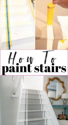 How to paint stairs. A DIY tutorial. How to paint stairs. A DIY tutorial for an inexpensive stair makeover with paint! Diy Furniture Projects, Home Projects, Handmade Furniture, Cheap Home Decor, Diy Home Decor, Stair Renovation, Stair Makeover, Basement Makeover, Tutorial Diy