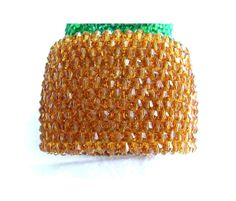 Sunny Honey wide beaded cuff glass beads bracelet by MyLaceSpace, $69.00