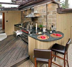 Brilliant Ideas For Outdoor Kitchen Design, Build & Remodel. See more ideas about outdoor kitchen design ideas, outdoor kitchen design plans, outdoor kitchen design for small space. Small Outdoor Kitchens, Outdoor Kitchen Plans, Outdoor Cooking Area, Outdoor Kitchen Cabinets, Backyard Kitchen, Outdoor Kitchen Design, Outdoor Rooms, Outdoor Dining, Kitchen Decor