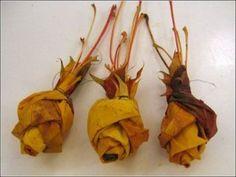 Rosas realizadas con hojas secas - Ideas - Guía de MANUALIDADES