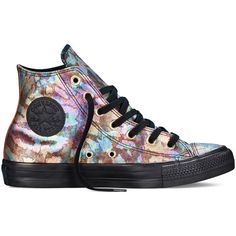 Converse Chuck Taylor All Star Iridescent  Leather –... ($50) ❤ liked on Polyvore featuring shoes, sneakers, black, iridescent shoes, leather trainers, leather sneakers, black trainers and multi color shoes