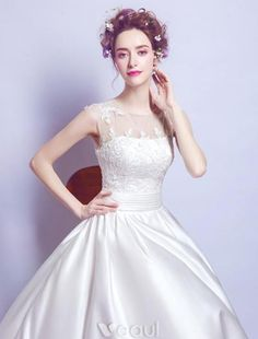 Beautiful Wedding Dresses 2017 Scoop Neckline Sleeveless Ruffle White Satin Bridal Gowns With Pockets