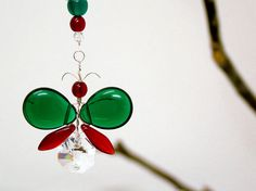 Red Christmas Ornament Rear View Mirror Charm Green Butterfly Hanging Swarovski Crystal Suncatcher Car Charm Butterfly Decor Window Kid Gift