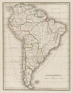 Antique map of South America, 1835 Old Maps, Antique Maps, Vintage Maps, Vintage Wall Art, South America Map, Latin America, Overlays, Pochette Album, Argentine