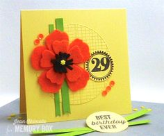 Celebrate a special birthday with a zingy orange felt Plush Anemone and Party Time's big 2-9. It's an easy way to personalize a card and make it extra-special for the birthday girl - or your favorite store! Hi, Jean Okimoto here, sharing a card I designed for Impress' 29th Birthday this weekend. Cut the 4