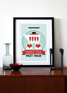 Kitchen art Catherineholm poster print  Make Tea Not by yumalum, $29.00