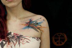 watercolor bird tattoo - bird, swallow, shoulder, girl