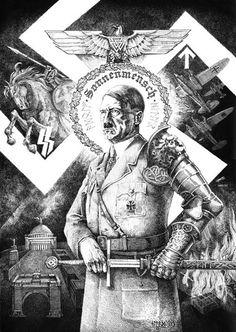 III. Reich - 1940.tih - plakat - Hitler - Sonnenmensch - Ritter
