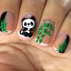 Al mal tiempo, uñas lindas🥰💅 Animal Nail Designs, Animal Nail Art, Cute Nail Art Designs, Panda Nail Art, Kawaii Nail Art, Panda Bear Nails, Nail Art For Kids, Cool Nail Art, Cute Nails