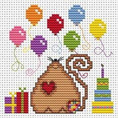 Patchwork Mouse Birthday Card cross stitch kit