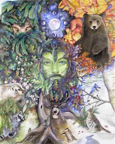 The Greenman, Cernunnos /Herne the Hunter... Hollie's Green Man By Artist Badgersoph...