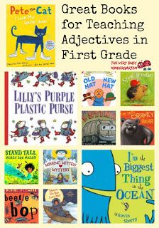 I found some amazing books for teaching adjectives to my first graders. All these books were in my library and they are full of adjectives. An extra bonus is that they are stories my first graders 1st Grade Books, 1st Grade Writing, First Grade Reading, First Grade Teachers, First Grade Classroom, Teaching Writing, Elementary Teacher, Books For First Graders, Teaching First Grade