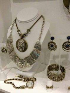Society and Exotic necklaces, Society and Indigo earrings, Basket Weave bracelet, Infinity ring and Accessorize watch