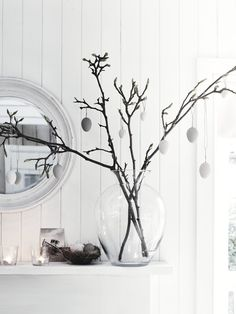 Bantam hanging eggs, Charlton vase and Buckingham mirror. Orpington nest and Legbar eggs. #EasterHunt #ElegantEaster