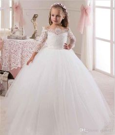 White / Ivory Ball Gown Flower Girls Dresses For Weddings Party With Long Sleeves Lace Tulle Little Kids Holy First Communion Dress