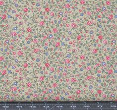 Pink, Blue, and Green Small Floral on a Light Yellow Dotted Background from Marshall Dry Goods, Calico, MDGCountry-01Yellow by fabric406 on Etsy