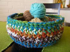 Multicolored Crochet Basket