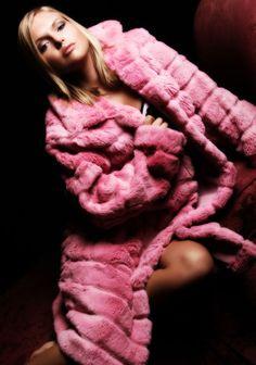 pink mink fur coat